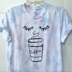 Lashes and Coffee tie dye graphic tee pastel top